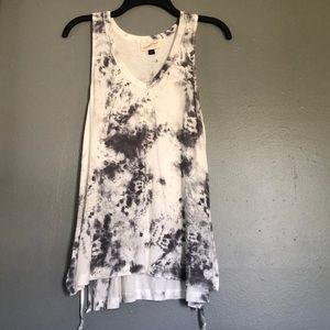 Gray and white tie-dyed tank top